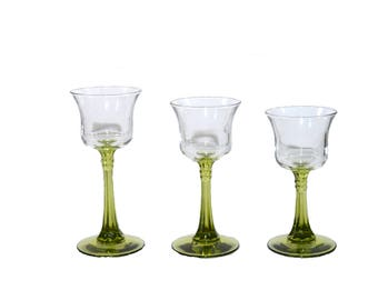 Green Glass Candle Holders Green Candle Holders Tealight Candle Holders Graduating Votive Candle Holders Set of 3