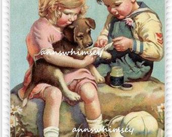 Dog Art, Child's Room Art, Girl's Room Art, Boy'sRoom Art, Children Healing Dog's Foot  #777