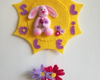 Banner name Bimbo Soleil. Personalized for Dora sun with pink bunny and daisies
