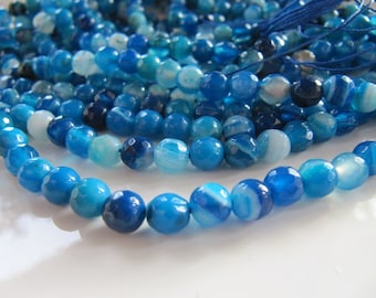 6mm Striped AGATE Stone Beads, Blue and White Shades, Gemstone Beads, Faceted Round, Full Strands and Half Strands, Dyed, Banded Agate Beads