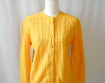 Vintage 1960s Garland Cardigan, Sunny Yellow Cardigan, 1960s Sweater, 1960s Cardigan, Vintage Garland, Yellow Sweater, Yellow Cardigan