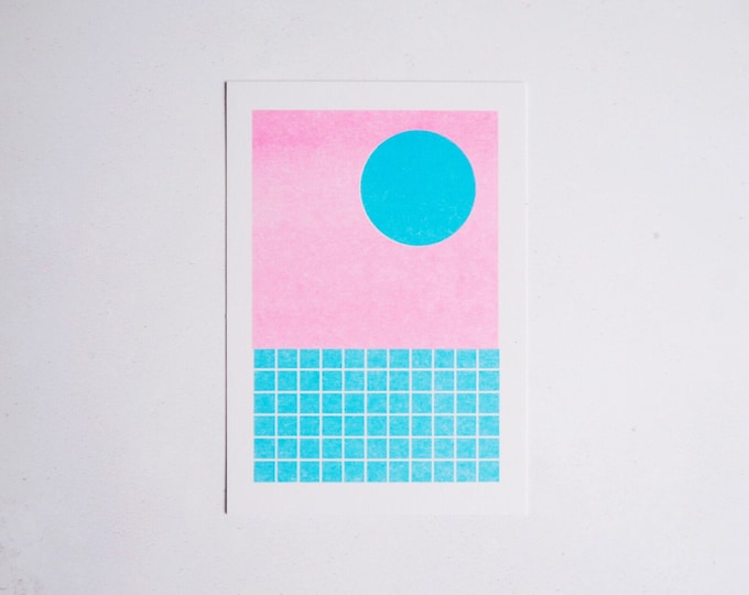 Sunset Poolside - Mini pattern print - Risograph print A6