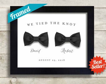 Gay Wedding Gift Gay Pride Personalized Gay Marriage for Two Men Bow Ties Black Tie Tuxedo Newlywed Gift Gay Couples Gay Anniversary Gift