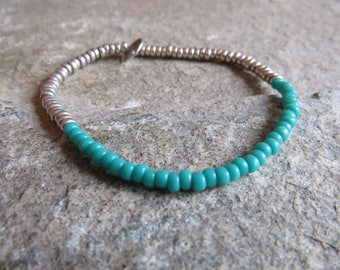 925 Sterling silver & turquoise bead bracelet - elasticated