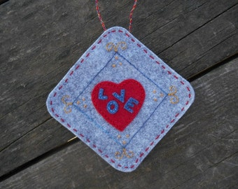 Wool felt ornament, heart full of love, hearts ornament, love ornament, embroidery art