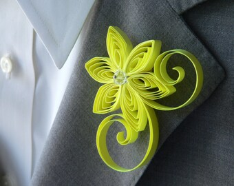 Neon Yellow Boutonniere, Hot Yellow Buttonhole, Bright Yellow Wedding, Flower for Buttonhole, Corsage for Groom, Groom Flower