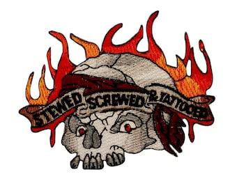 Stewed Screwed & Tattooed Skull Patch Biker Tattoo Embroidered Iron On Applique