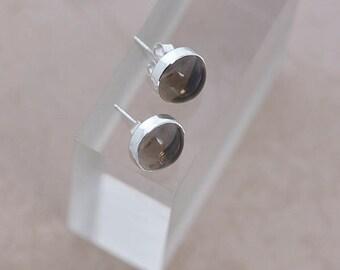 Brown Quartz Stud Earrings, Smokey Quartz Sterling Silver Earrings Studs, Brown Gemstone Earrings, Smokey Quartz Gift Jewellery Gift For Her