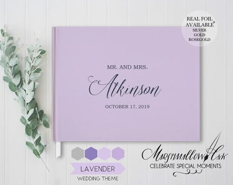 Hardcover Wedding Guest Book, Lavender Wedding Theme Guest Book Ideas, Wedding Gift, Landscape Polaroid Guest Book, Bridal Shower Gift Ideas