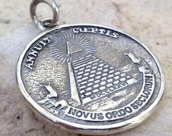 solid sterling silver 925 all-seeing eye pyramid masonic symbols pendant