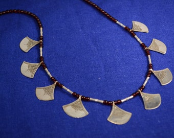 Tuareg necklace of Chat'chat - Silver and Cornelian