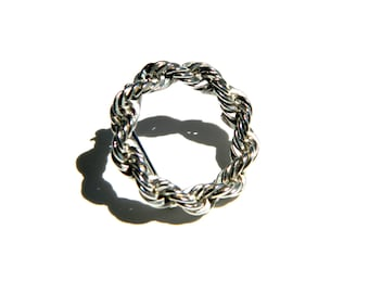 """Vintage classic sterling silver eternity circle brooch twisted chain high quality 1 1/4"""" brooch classic fashion retro mid century c 1970"""