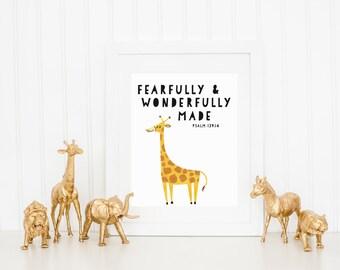 DIGITAL Fearfully and Wonderfully Made Giraffe Print, Safari Animal Wall Decor, Animal Playroom Poster, Gender Neutral Nursery - ANY SIZE