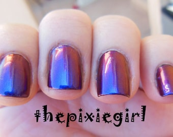 Chromaflair Color Shifting Morphing Multichrome Blue Purple  Shift Handmade Indie Nail Polish Top Coat Nail Polish Lacquer