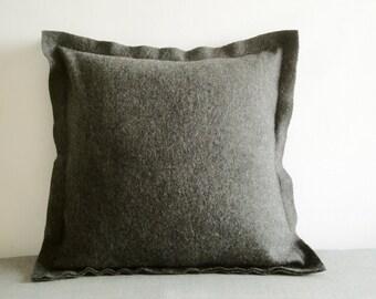 Dark Grey Felt Cushion Cover, Decorative Pillow, Accent Throw Pillow , Felt Pillow with Flange