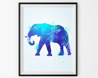 Watercolor Elephant Painting - Watercolor Nursery Art - Wall Art - Blue Elephant - Watercolor Canvas - Watercolor Print