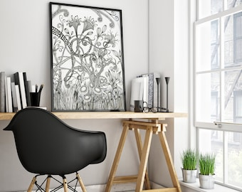 Black And White Art Prints Wall Art Psychedelic Art Florals Prints Decorative Ink Drawing Unframed art Drawing Print Fantasy art Doodle art