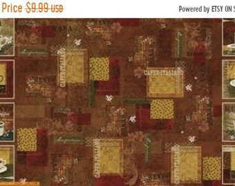 20 % off thru 5/31 INTERNATIONAL COFFEE  Fabric Panel WINDHAM-  23 by 44 in~ Squares Kona, italiano