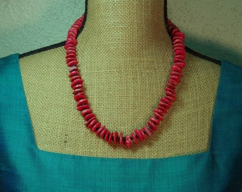 Natural Untreated AAA Red Coral Block Branch Slices,.925 Silver Necklace and Earrings