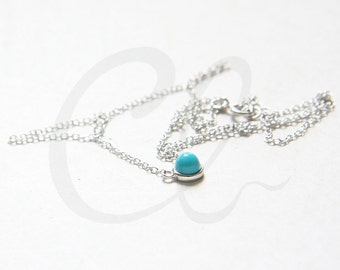 Sterling Silver and Delicate Turquoise Pendant Necklace (N162)