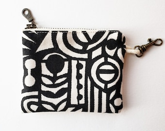 Zippered Coin Pouch: Organic Screenprinted Fabric in Black