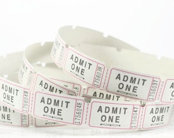 ADMIT ONE TICKETS (Set of 100) -  Admit One Carnival  / Movie Tickets (5.2cm x 2.5cm)