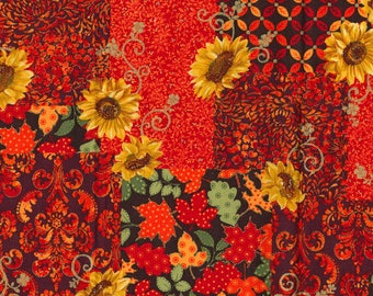 Autumn Festival Metallic Cotton Fabric Sold by the Yard