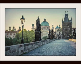 Prague Print, Sunrise, Gothic Home Decor, Prague Photography, Medieval, Charles Bridge, Karlův Most, Travel Print, Fine Art Photography