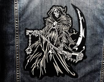 LARGE SIZE Grim Reaper Skull Ghost God Of Death Jacket Vest Sew Iron on Patch