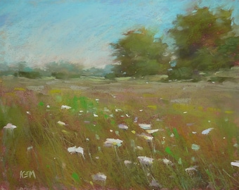 Summer Landscape NANTUCKET  Original Pastel Painting Karen Margulis