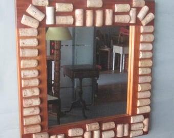 Cork Mirror/Wine Cork Mirror/ Wall Mirror/Handmade Mirror/Handmade Cork Mirror/Small Wall Mirror/Mirror/Natural Wood Mirror/Recycled Wood