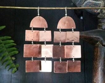 Catalina Earrings . Unique Copper Chandelier Earrings