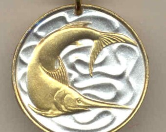 "Singapore Swordfish,  Coin - Necklace, Gorgeous 2-Toned ""Gold on Silver"""