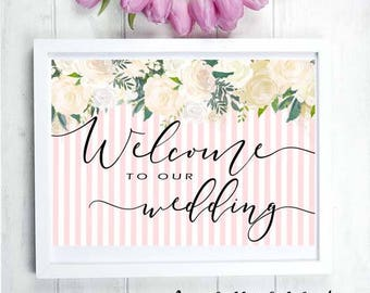 NEW - Welcome to our Wedding - Instant Printables : For Wedding / Engagement  White Roses Pink Pinstripe