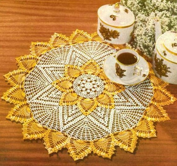 2 Color Crochet Pineapple Doily Pattern Retyped Large Print