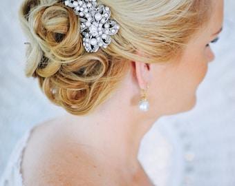 Crystal Bridal Hair Comb, Swarovski Pearl Hair Comb, Vintage Style Hair Comb, Bow Bridal  Hair Comb, Bridal Wedding Hair Jewelry, CADENCE