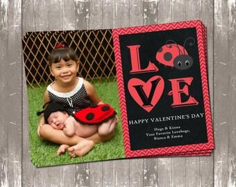 Lovebug Happy Valentine's Day Photo Card (Red) DIGITAL FILE