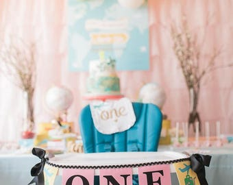 ONE High Chair Banner / First Birthday Banner / 1st birthday / 1st birthday girl / Highchair banner / Around the world baby shower / Banners