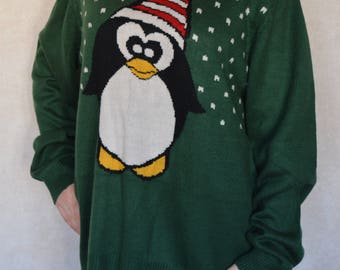 Vintage Green Knitted Ugly Christmas Sweater Christmas Penguin green Winter Cardigan Stockings green Cosby Knitted Festival Jumper Size XXL