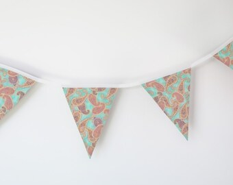 Fabric banner, pennants decorative of fabric, banners to decorate, PAISLEY, wreath of fabric, Fabric bunting, printed cashmere