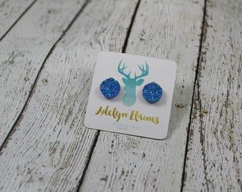 12 mm Funfetti Blue Druzy Earring Studs