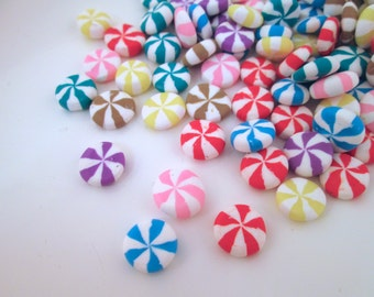 Miniature Peppermint Candy Cabochons Polymer Clay, #258b