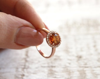 Mothers Day Jewelry, Honey Halo Ring, Amber Halo Ring, Yellow Gemstone Ring, Halo Ring Wife Gift, Rose Gold Halo Ring, Yellow Honey Ring