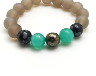 Stretchy Grey, Green and Black Beaded Bracelet - Boho Summer Bracelet - Casual Jewelry - Stackable Bracelet - Gift for Her - Mother's Day
