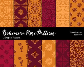 Bohemian Rose Patterns, Orange & Maroon, 12 Digital Papers 12x12, Pattern File PAT Included, Seamless, Commercial Use, INSTANT DOWNLOAD