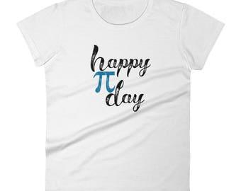 Happy Pi Day Math Geek cute women's short sleeve t-shirt