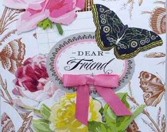Dear Friend Butterflies & Roses 2018 Card Handmade