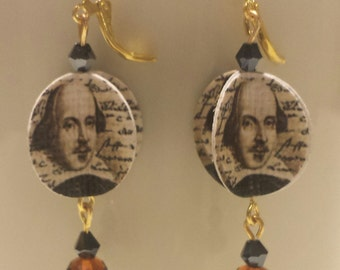 Shakespeare Paper and Black and Brown Earrings Gift for English Major Gift for Reader The Bard