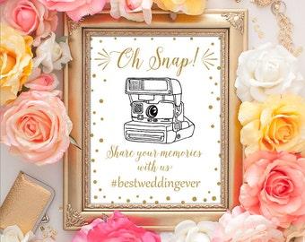Wedding Hashtag Sign 8x10 Hashtag Wedding Sign, Gold Sign, Wedding Hashtag Printable Art, Wedding Photography, If You Hashtag
