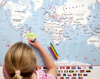 Children's Doodle World Map With Crayons --  gift, craft, coloring in, creative, kids map, Free Shipping!
